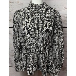NWT Who What Wear Domino Dot Peplum Blouse Large